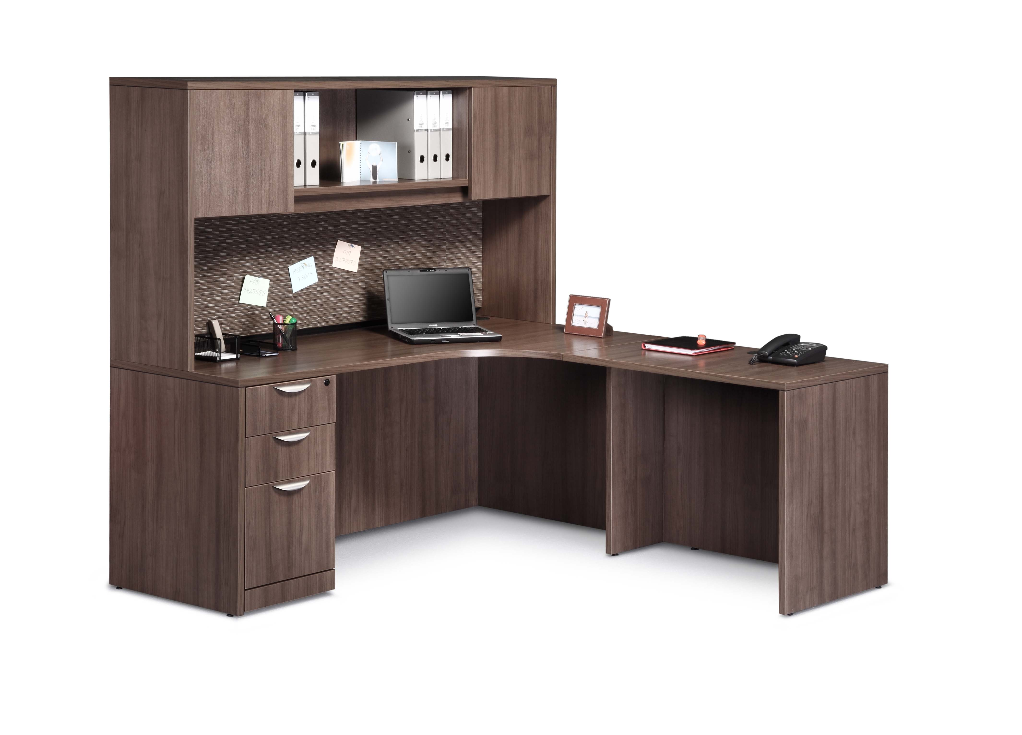 31 Pl Workstation L Single Ped With Inside Curve And