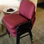 UPHOLSTERED STACKERS BURGUNDY